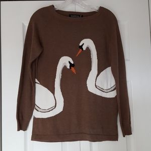 Swan Sweater, modcloth, Kissing swans, size 6